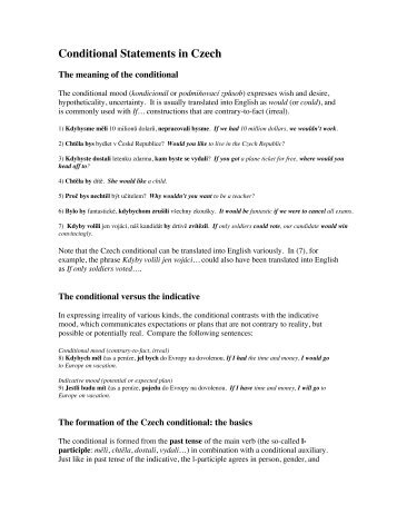 Conditional Statements in Czech - Cokdybysme.net