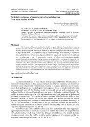 Antibiotic resistance of gram negative bacteria isolated ... - Rombio.eu