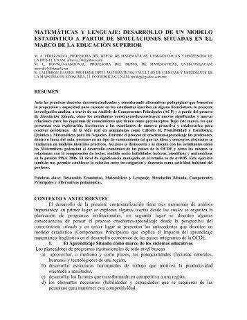 matemáticas y lenguaje: desarrollo de un modelo estadístico a partir ...