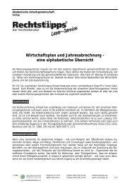 Wirtschaftsplan und Jahresabrechnung - Akademische ...