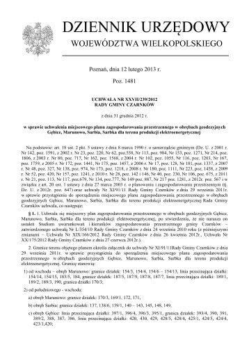Uchwała Nr XXVII/239/2012 z dnia 31 grudnia 2012 r. - Plany ...