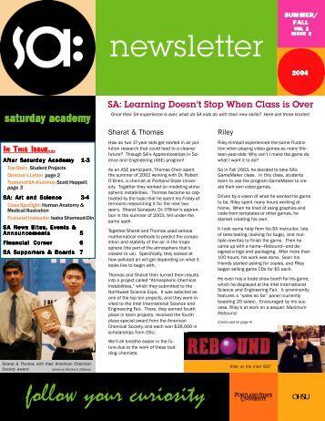 newsletter - Saturday Academy
