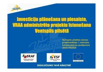 Ventspils pieredze VRAA projektos - Valsts reģionālās attīstības ...