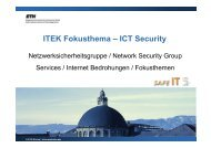 ITEK Fokusthema – ICT Security - ETH Zürich