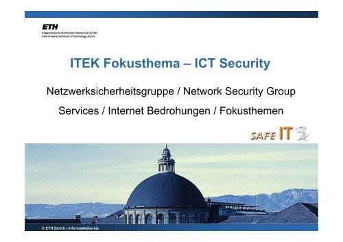 ITEK Fokusthema – ICT Security - ETH Zürich