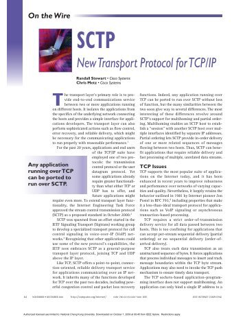 SCTP: new transport protocol for TCP/IP - Internet Computing, IEEE