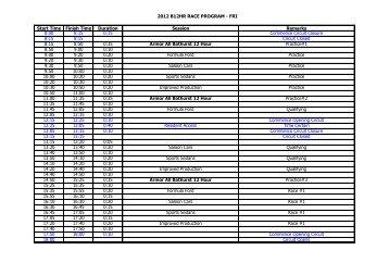 2012 B12HR RACE PROGRAM - FRI Start Time ... - Bathurst 12 Hour