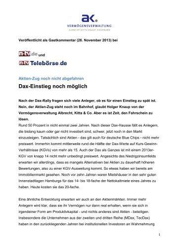 Dax-Einstieg noch möglich - Albrecht, Kitta & Co.