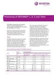 Processing of VESTAMID® L, D, E und Terra