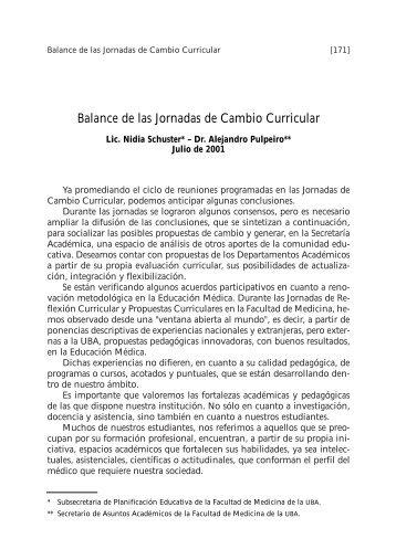 Balance de las Jornadas de Cambio Curricular - FMV