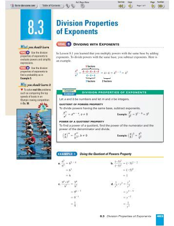 Division properties of exponents homework help
