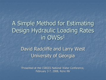 A simple method for estimating design hydraulic loading rates in ...