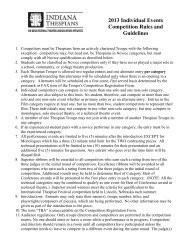 2013 Individual Events Competition Rules and Guidelines