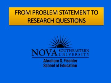 FROM PROBLEM STATEMENT TO RESEARCH QUESTIONS - 1