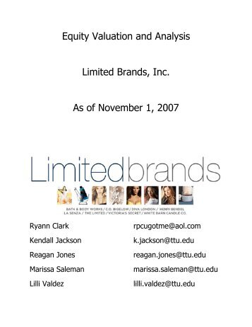 Equity Valuation and Analysis Limited Brands, Inc. As ... - Mark Moore