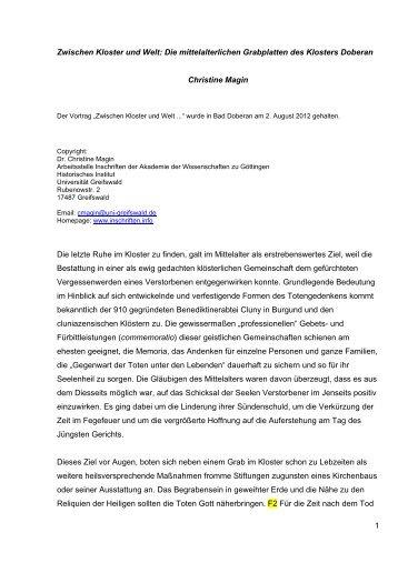 1 Zwischen Kloster und Welt: Die mittelalterlichen Grabplatten des ...