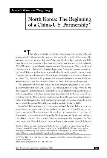 North Korea: The Beginning of a China-U.S. Partnership ... - MyWeb