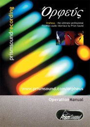 Orpheus Operation Manual - Test and Measurement - Prism Sound