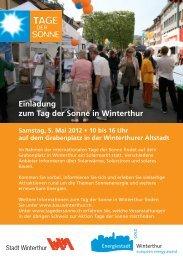 Einladung zum Tag der Sonne in Winterthur