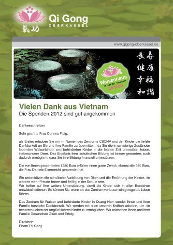 Vielen Dank aus Vietnam - Qi Gong Oberkassel