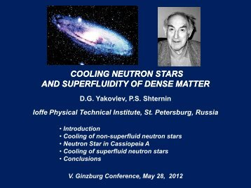 Cooling of neutron stars - Ginzburg Conference on Physics