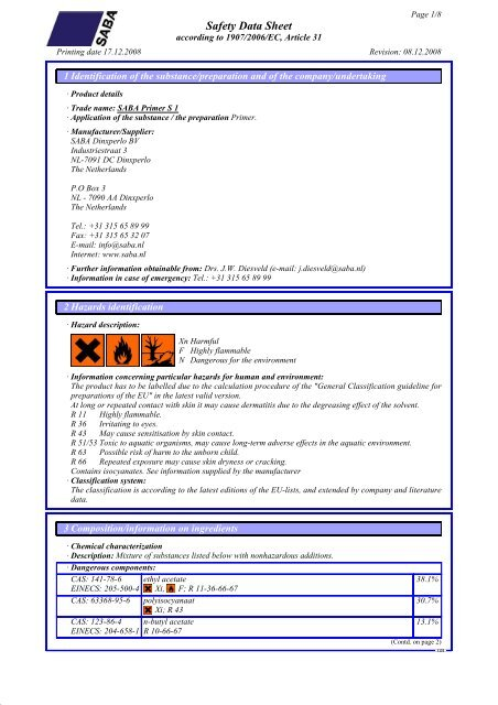 DR Safety Data Sheet acco