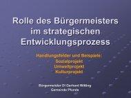 Rolle des Bürgermeisters im strategischen Entwicklungsprozess