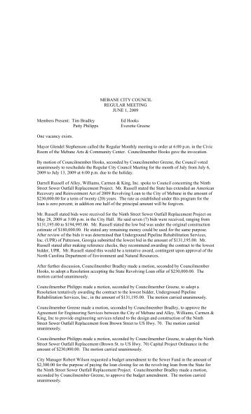 June 2009 Minutes - City of Mebane