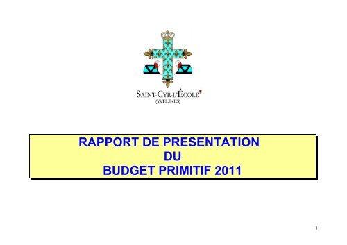 RAPPORT DE PRESENTATION DU BUDGET PRIMITIF 2011