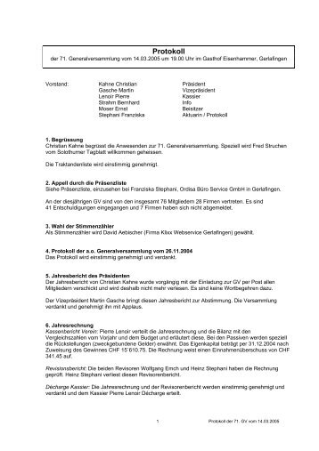 Protokoll der GV vom 14.03.05 - Gewerbeverein beider Gerlafingen