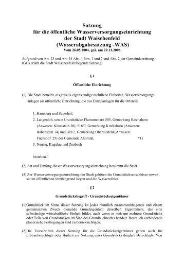 Wasserabgabesatzung -WAS - Waischenfeld