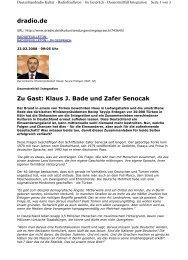 dradio.de Zu Gast: Klaus J. Bade und Zafer Senocak