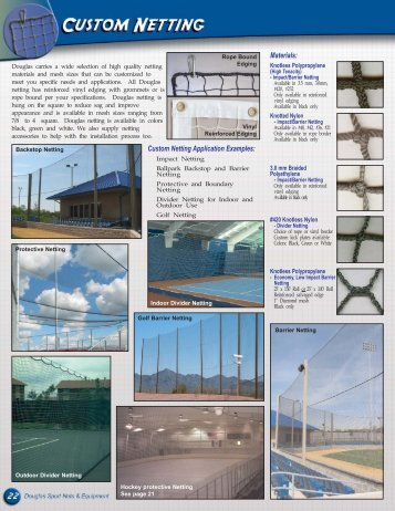 Materials: Custom Netting Application Examples: - Douglas Sports ...