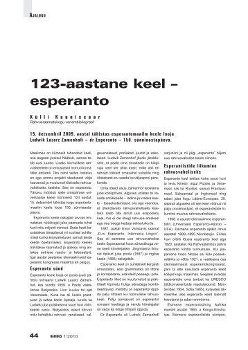123-aastane keel – esperanto (Külli Kaunissaar) - Haridus