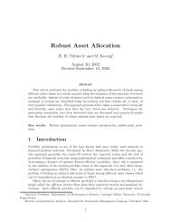 Robust Asset Allocation - Department of Mathematical Sciences ...