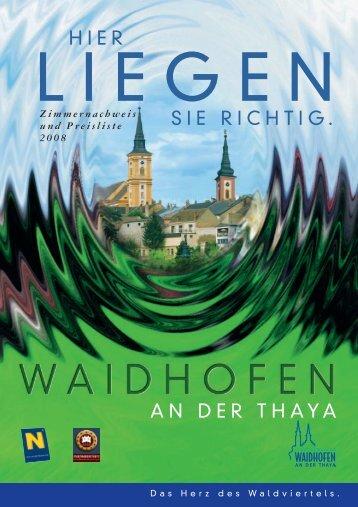 Zimmernachweis und Preisliste 2008 - Waidhofen an der Thaya