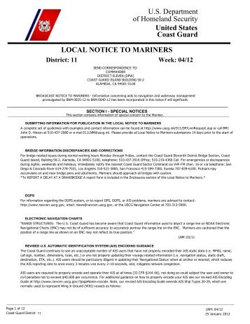 Local Notice To Mariners Week #04-2012 - Dana Point Boaters ...