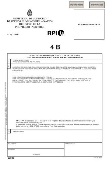 4 B - Registro de la Propiedad Inmueble de la Capital Federal