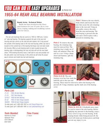 1955-64 rear axle bearing installation - Eckler's Classic Chevy