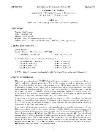 Syllabus Instructor Course information Course description - Citidel