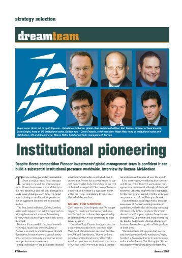 Institutional pioneering - Pioneer Investments