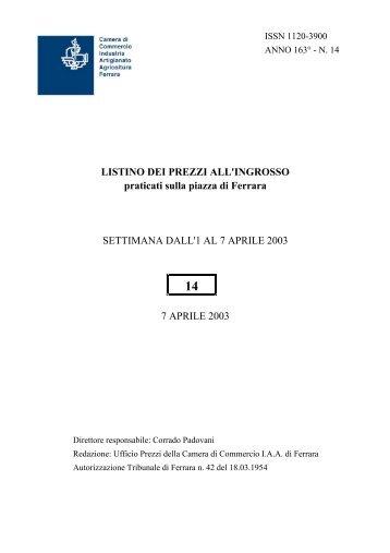 praticati sulla piazza di Ferrara SETTIMANA DALL'1 AL 7 APRILE ...