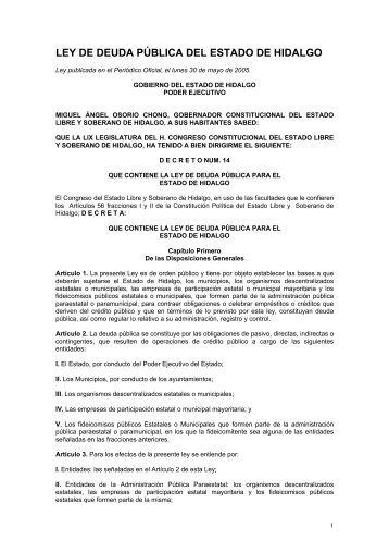Deuda Publica del Edo. Hidalgo - El Lugar de la Luna en Línea