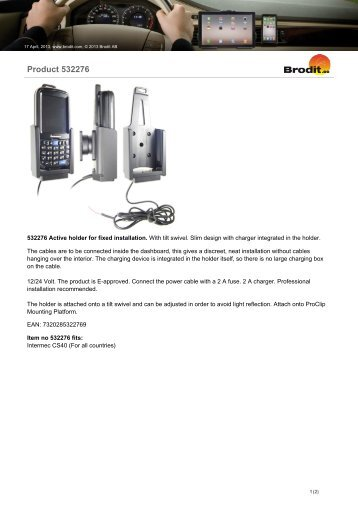 Brodit 532276 Datasheet - The Barcode Warehouse