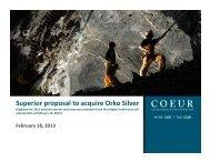 Superior proposal to acquire Orko Silver - Coeur d'Alene Mines Corp.