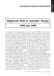 Ungdomars bruk av rusmedel i Europa 1995 och 1999
