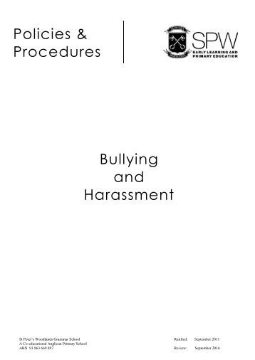 Bullying and Harassment Policy - ST. PETER'S WOODLANDS ...