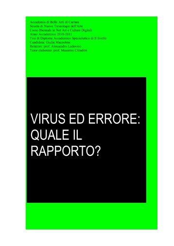 tesi gmazzoleni_virus ed errore quale il rapporto - Accademia di ...