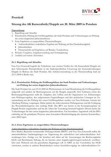 Protokolle Kameralistik Doppik 20.03.2009 - BiBu Kronach