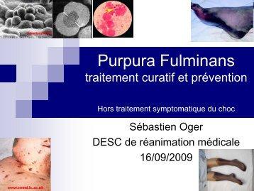 Purpura fulminans : prise en charge thérapeutique